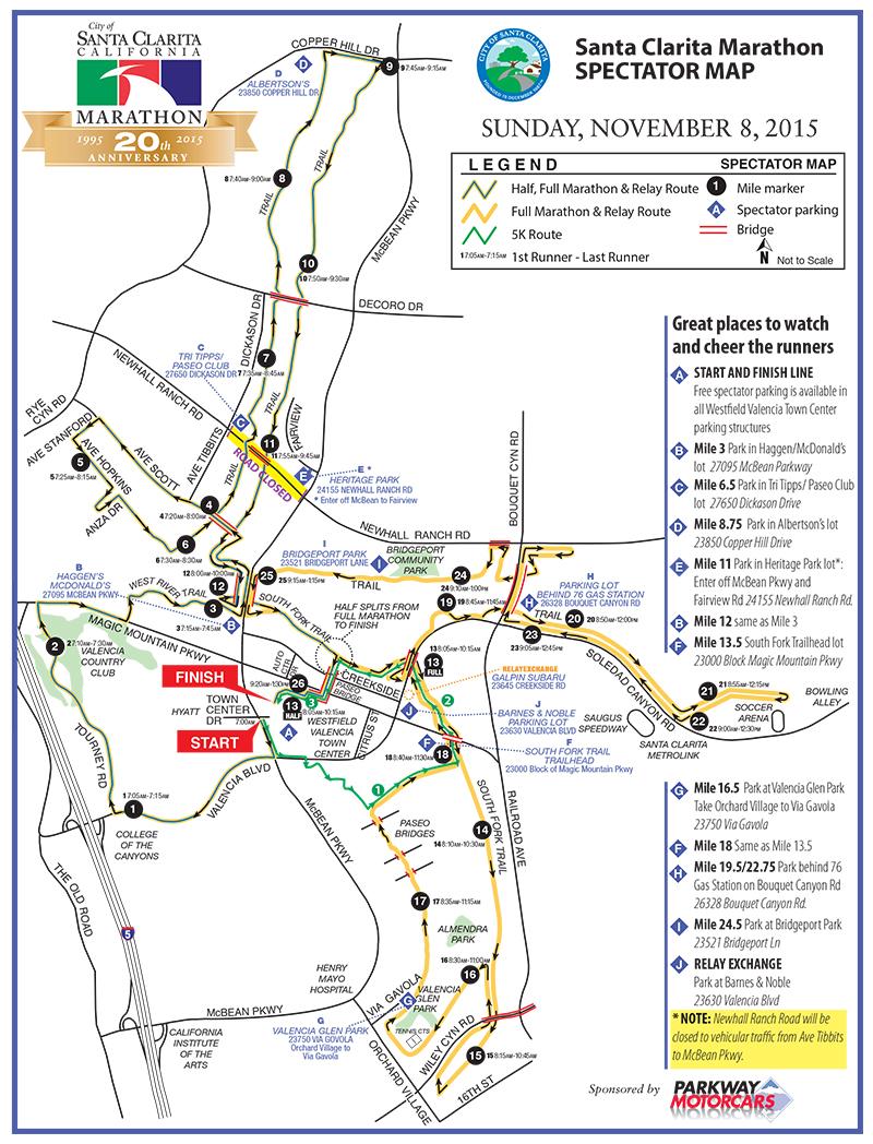 Santa Clarita Marathon Spectator Map